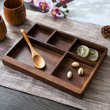 Black Walnut Serving Tray Dried fruit plate living room Creative home with wooden storage box fruit candy plate(China)