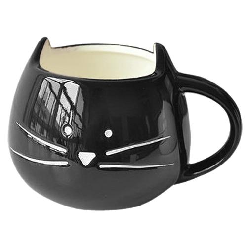 HGHO-Coffee Cup White Cat Animal Milk Cup Ceramic Lovers Mug Cute Birthday gift,Christmas Gift(Black)