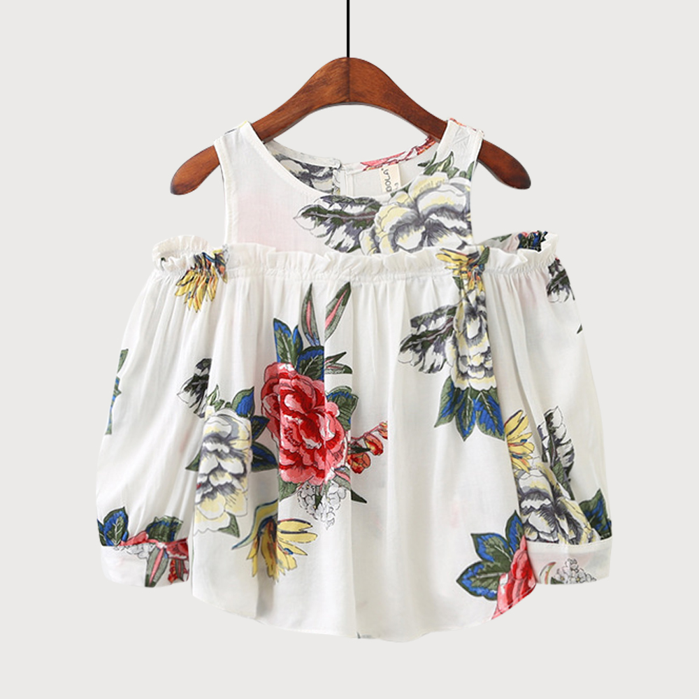 Girls Floral Blouse Kid's Clothes Long Sleeve Off Shoulder Tops Children Clothing Summer Girl's Outfits trendy v neck long sleeve floral print see through blouse for women