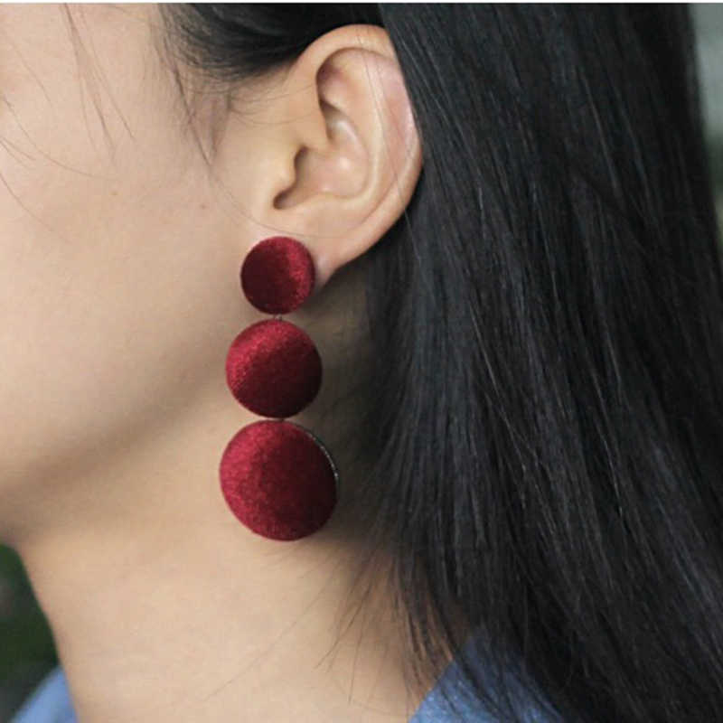 Personality Women Big Earrings Red Gray Round Drop Earring Long Dangle ear Drop Velvet Ear Decoration Women Jewelry gift ES3268