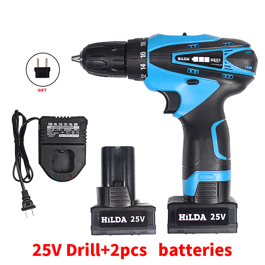 25V Two-Speed Cordless Screwdriver Electric Drill Rechargeable Waterproof Drill LED Light with 2 Pcs Lithium Batteries 25v cordless drill electric two speed rechargeable 2pcs lithium battery waterproof drill led light