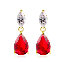 PISSENLIT Red Rhinestone Drop Earrings Women Jewelry 2019 New Fashion Grace Summer Hot Accessories bijoux brincos
