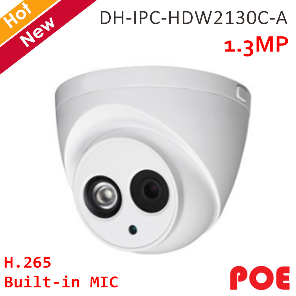 Original 1.3MP IP Camera IPC-HDW2130C-A Built in MIC h.265 POE Camera IR 50 meters Indoor and Outdoor IP67 for Home security camOriginal 1.3MP IP Camera IPC-HDW2130C-A Built in MIC h.265 POE Camera IR 50 meters Indoor and Outdoor IP67 for Home security cam