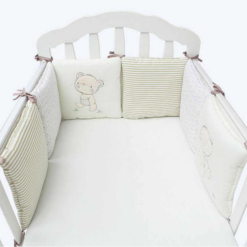 6Pcs/Lot Cartoon Baby Bed Bumper For Newborns Children's Room Decor Kids Crib Bedding Set 100% Cotton Thicken Baby Bed Protector