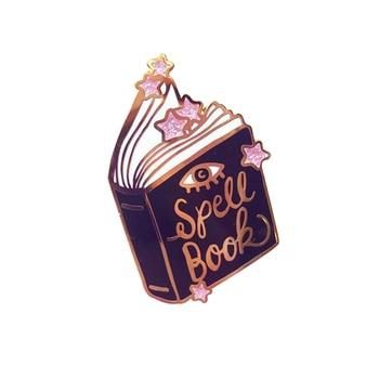 Заколка-книжка с розовым блеском, брошь в виде звезд, волшебное колдовское ремесло, Подарочный книжный червь, украшения в виде колдуны