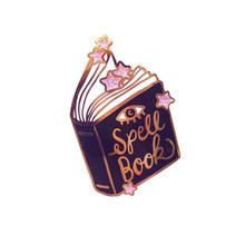 Spell book pin pink glitter stars brooch magical witchcraft badge bookworm gift witch occult jewelry(China)