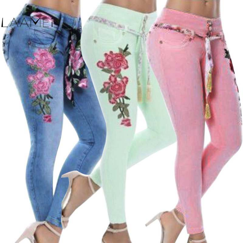 Laamei 2019 Plus Size Stretch High Waist Skinny Embroidery Floral Holes Denim Pants