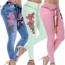 7fca61bb050 Laamei 2019 Plus tamaño las mujeres Stretch Skinny de talle alto bordado  Jeans Floral agujeros pantalones