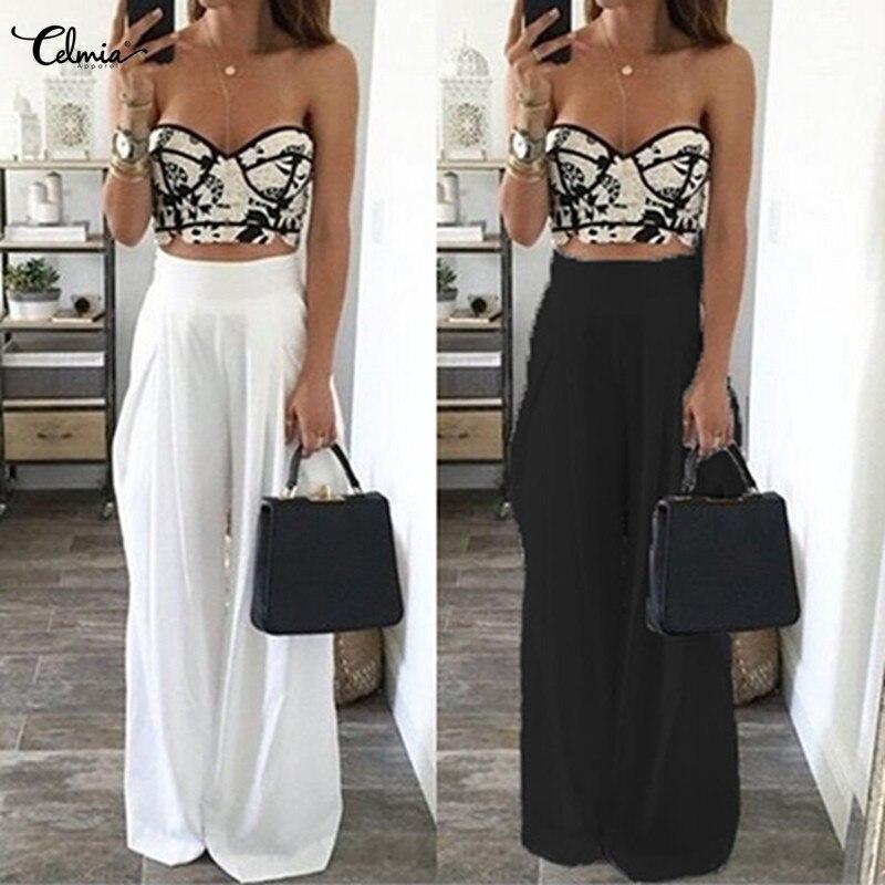 Celmia Women   Wide     Leg     Pants   2018 Summer   Pants   High Waist Casual Loose Palazzo Pantalones Femme Solid Long Trousers Beach   Pants