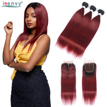 Brazilian Ombre 1B 99J Bundles With Closure 3 Straight Human Hair Bundles With Closure Colored Burgundy Weave Two Tone Non Remy(China)