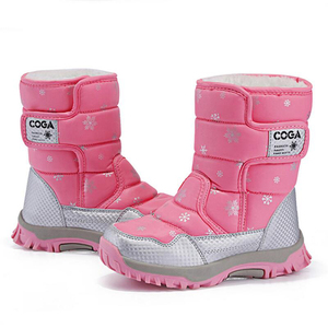 Image 4 - SKHEK/зимние сапоги для девочек; Водонепроницаемые зимние детские ботинки; Теплая обувь с плюшевой подкладкой для девочек; Нескользящая обувь; Яркие цвета; Черный, красный, фиолетовый