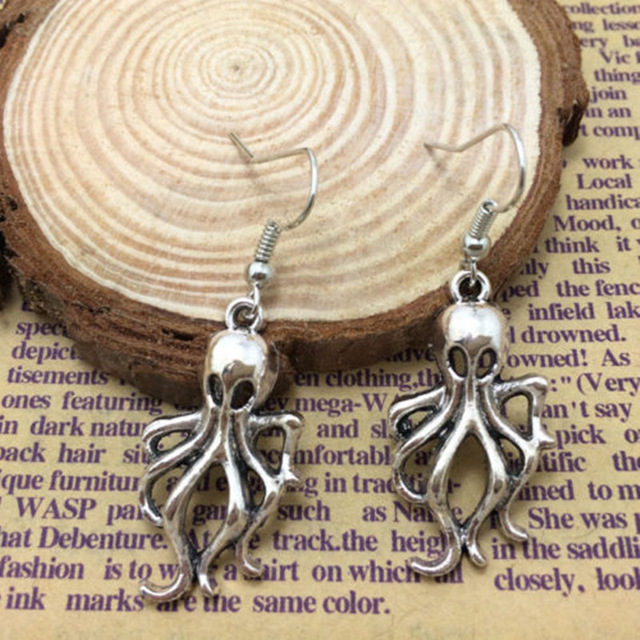 WUSQWSC 2018 hot new big octopus earrings steampunk nautical squid sea demon jewelry antique silver