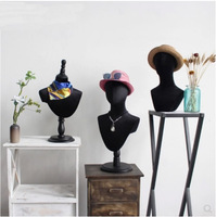 Черная бархатная голова плесень реквизит голова манекен для шляпы ожерелье шелковый шарф очки дисплей