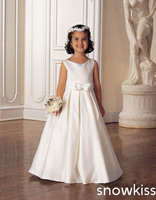 New simple satin flower girl dress baby party frocks elegant A-line gowns with bow sash kids holy first communion for wedding