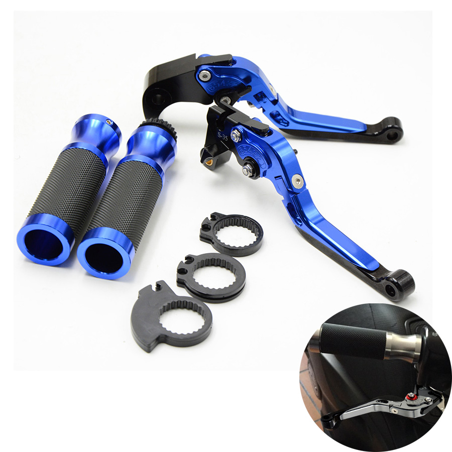 FOR New Motorcycle Brake Clutch Levers&7/8Handlebar Hand Grips Blue Color For Honda CBR600RR07-16 CBR1000RR/FIREBLADE 08-2016 for honda cb500x cb500f cb300f cb400f motocycle adjustable folding brake clutch levers handlebar hand grips