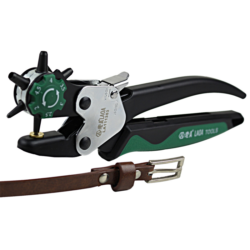 Tools : LAOA Sewing Leather Canvas Belt Punch Tool Snap pliers Guitar Pick Puncher Punching Holes On Paper Forceps 6 size punch head