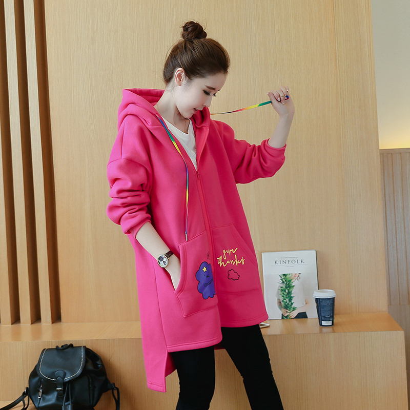 Large size maternity dress autumn and winter new style hooded pregnant women sweater coat loose fashion shirt cardigan maternity spring and autumn 2016 models long sleeved loose cardigan sweater pregnant women