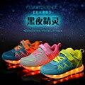 Nuevos niños sneakers shoes chicas casual shoes primavera luminoso de carga usb led que brilla intensamente boys sports shoes niños al aire libre fresco