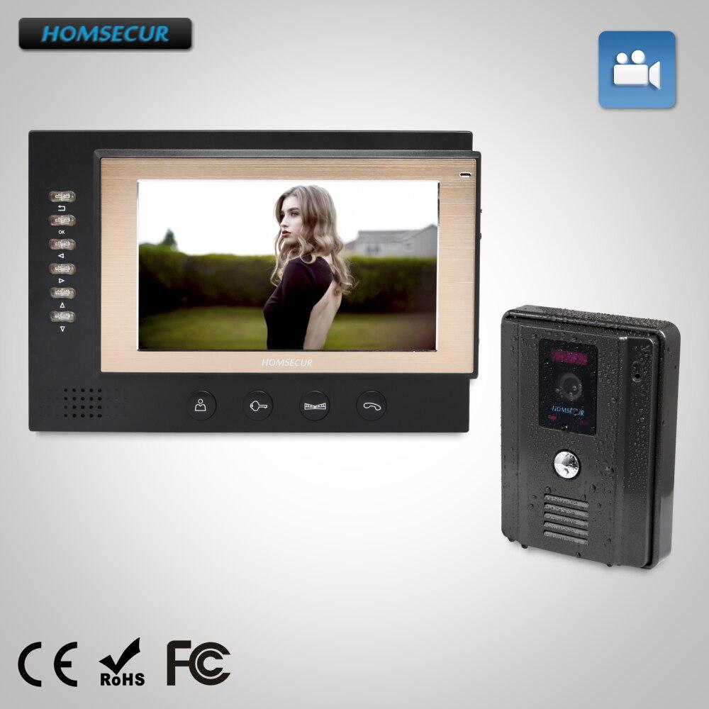 HOMSECUR 7 Video Door Phone Intercom System+Black Camera for Home Security 1C1M : TC011-B Camera(Black)+TM701R-B Monitor(Black)