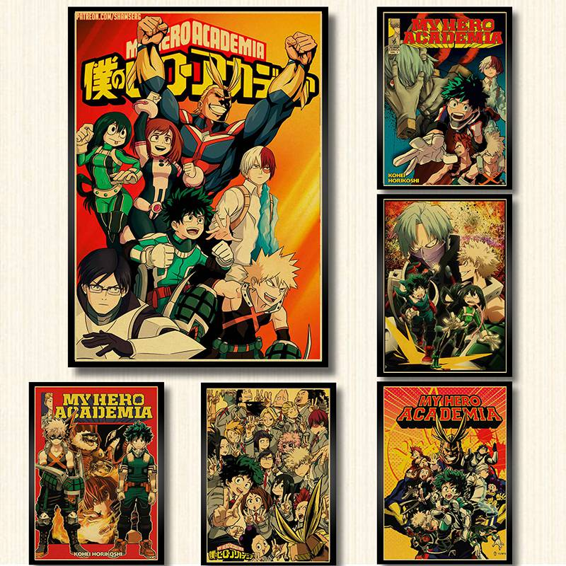 My Hero Academia poster brown kraft paper print wall art painting vintage style font b anime