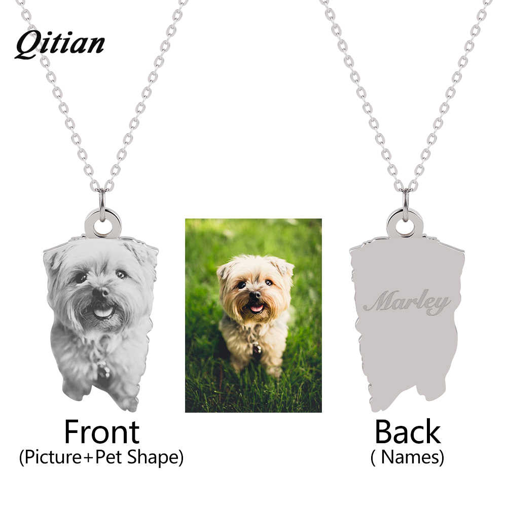 Pet Customized Pendants & Necklaces    Stainless Steel Personalized Necklace Nameplate Photo Engraved DIY Jewelry Dropshipping