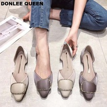 DONLEE QUEEN Women Summer Flat Shoes Ladies Ballet Flats Pointed Toe Ballerina Female Slip On Loafers Diamond Buckle Moccasins