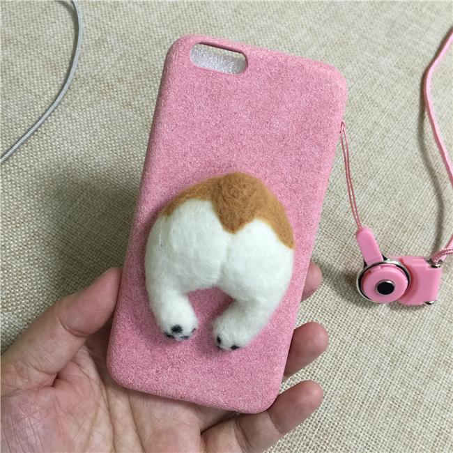 Corgi case handmake igły filcu wełnianego słodkie cat dog tyłek tyłek pokrywa dla apple iphone 6 6s plus iphone 7 7 p miękkie telefon komórkowy case 18