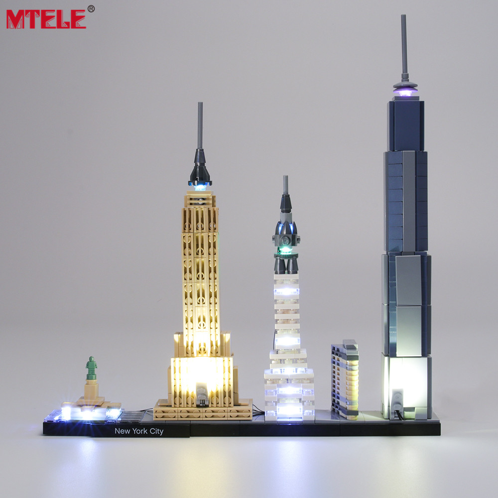MTELE Brand LED Light Up Kit Toy For Architecture New York City Lighting Set Compatile With 21028