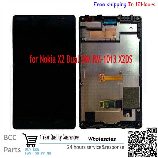 ФОТО In stock!AOriginal quality  Black  Touch screen +LCD display with frame For Nokia X2 1013 X2DS