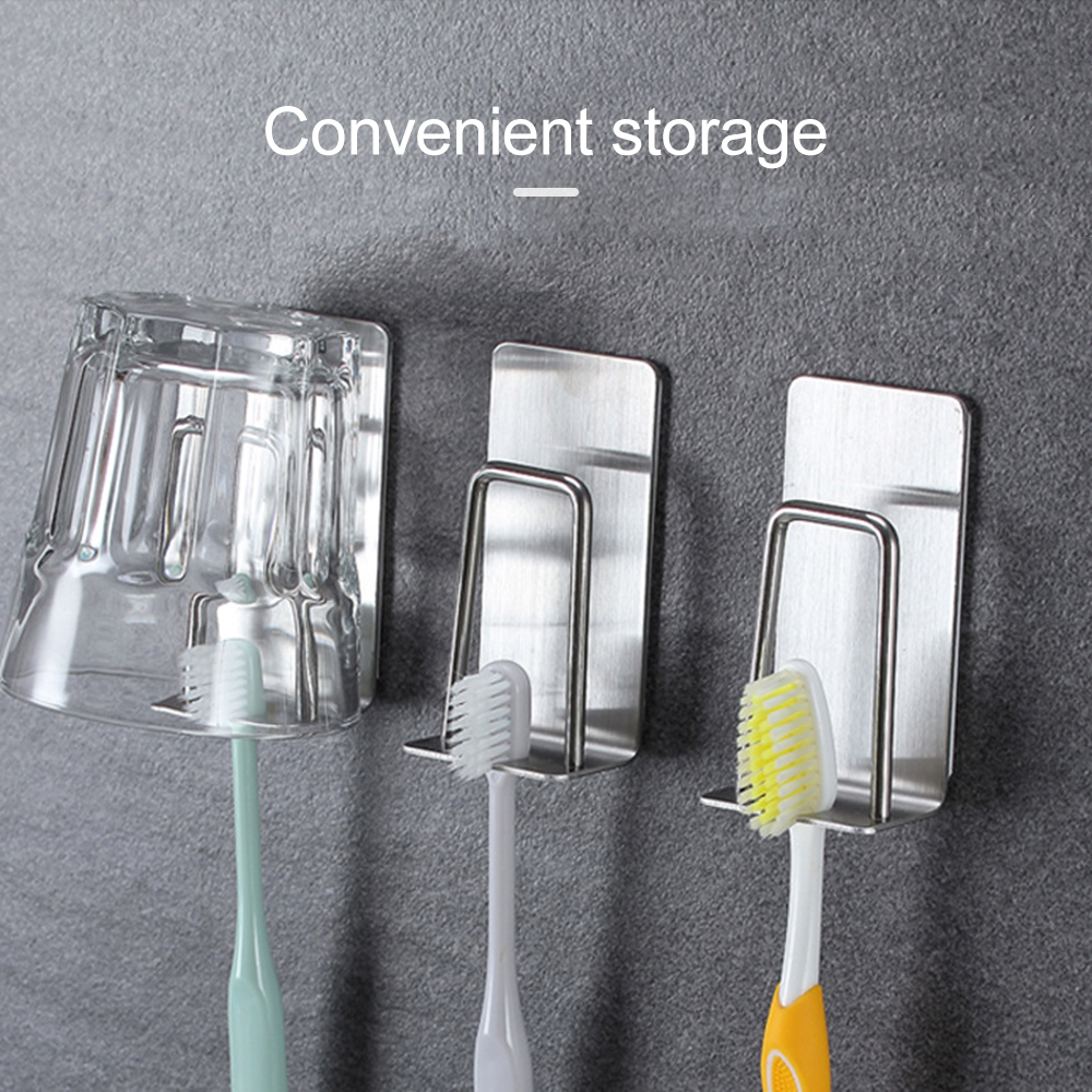 Creative Toothbrush Storage Bracket Double Wall Stainless Steel Toothbrush Holder Wall Nail-Free Mount Rack Bathroom Tools image