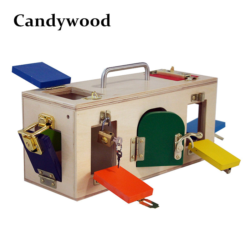 Candywood Montessori wooden lock box Early Childhood Education Preschool Training Kids unlocking box Children educational toy new wooden baby toy montessori cylinder blocks sensorial preschool training early childhood education