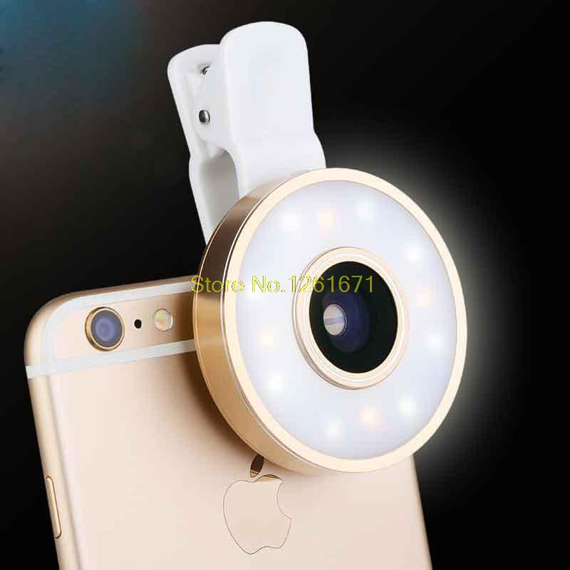 Fisheye Phone Camera Lens Kit LED Selfie Fill-in light + Macro + Wide Angle Lens for iPhone 7 7plus Samsung S8 S7 Universal V04 4