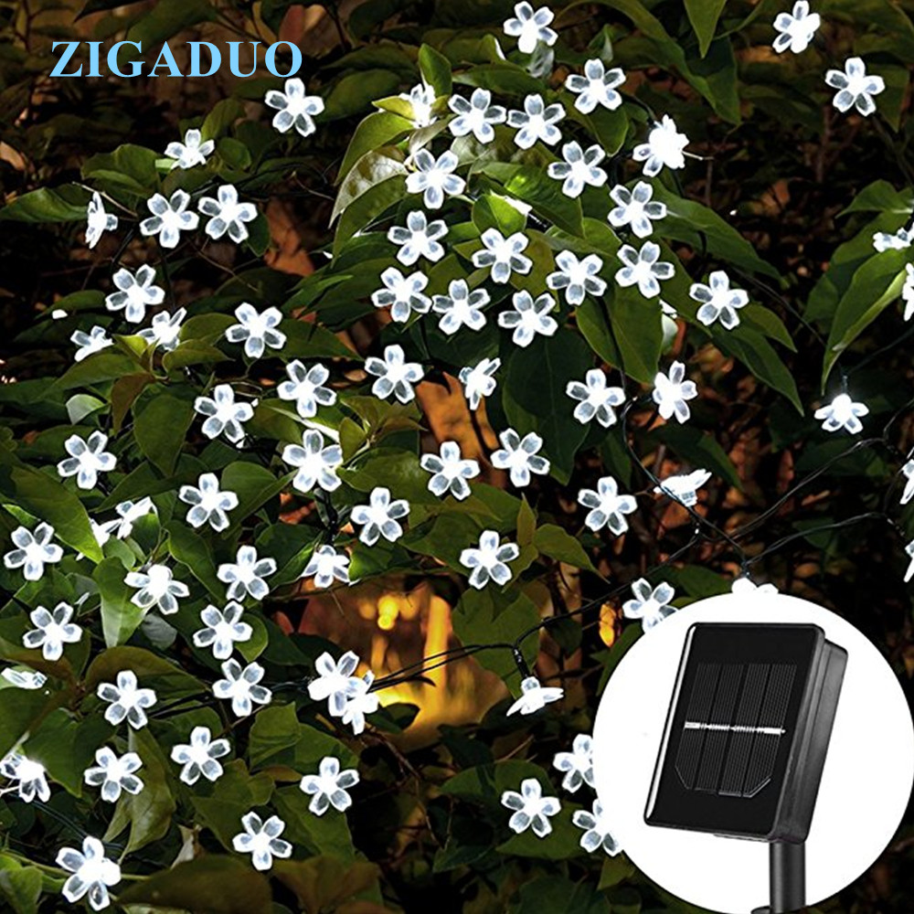 Outdoor Solar Lamp Peach Sakura Flower LED String Lights Fairy Holiday Christmas Party Garlands Solar Garden Waterproof Lights