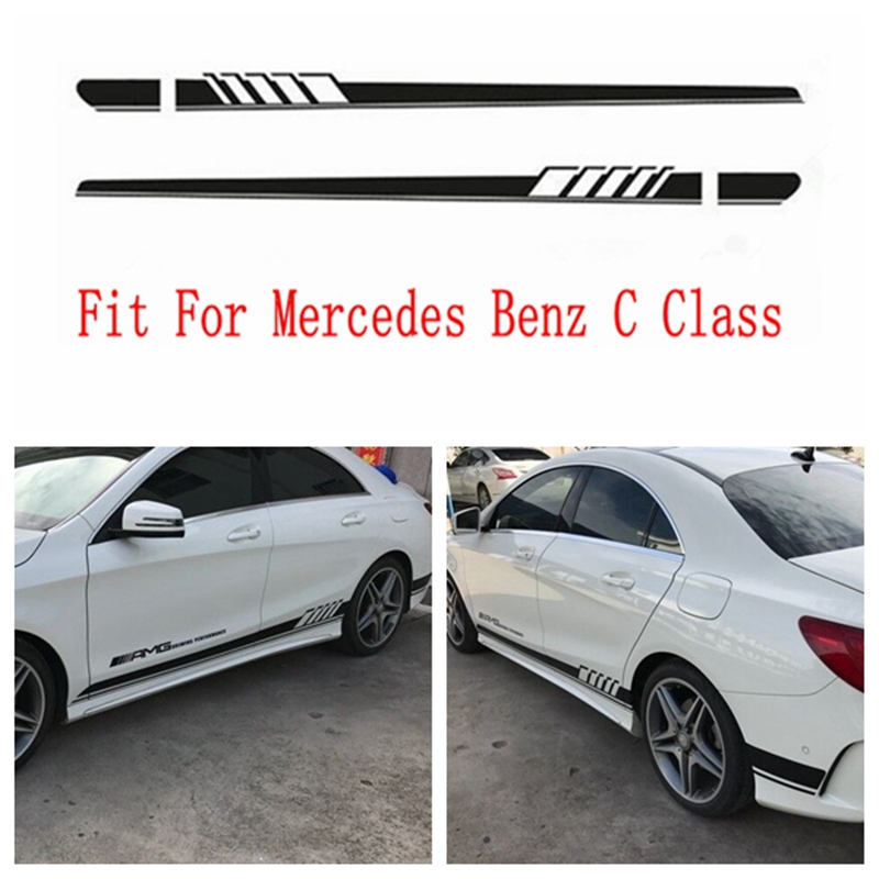 все цены на Gloss Black Auto Side Skirt Car Sticker -AMG Edition 507 Racing Stripe Side Body Garland for Mercedes -Benz C Class W204 W205