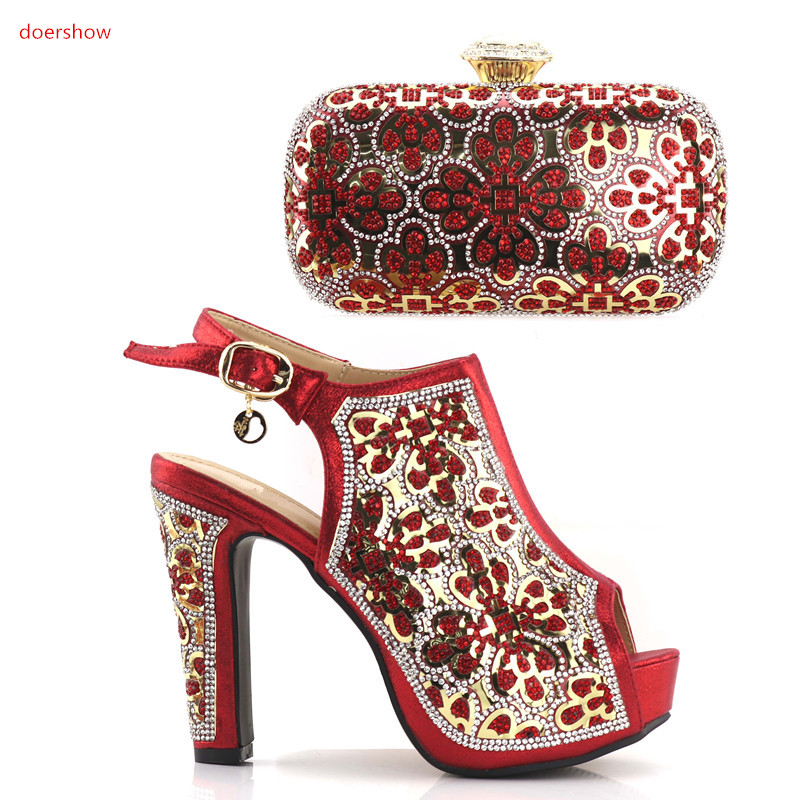 doershow beautiful red Italian Shoes and Bag Set Lady Summer Shoes Favorite Style African Shoes and Bag To Match JJC1-5 2016 spring and summer free shipping red new fashion design shoes african women print rt 3