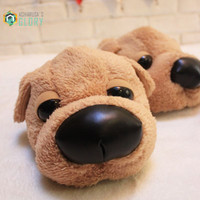 2015 Winter Womens And Man Novelty Lovely Dog Cotton Pantoufle Minion Slipper Indoor Minion Plush Slippers