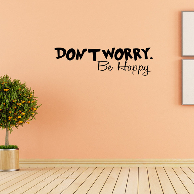 Dont Worry Be Happy Vinyl Wall Decal Home Decor Quotes Diy Art Mural