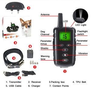 Image 2 - Тренировочный ошейник для собак 500 м с электрошоком для собак водонепроницаемый пульт дистанционного управления устройство для собак зарядка ЖК дисплей