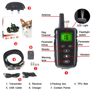 Image 2 - 500m pet dog training collar electric shock collar for dogs waterproof remote control dog device charging LCD Display