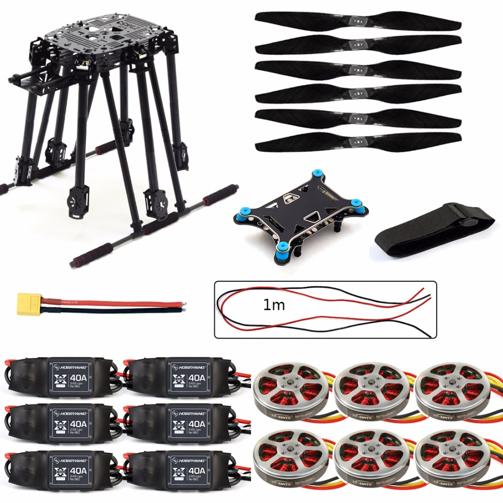 DIY ZD850 Frame Kit with Landing Gear +5 in 1 Shock Absorber Brushless Motor ESC Propeller for RC FPV Drone Hexacopter F19833-F