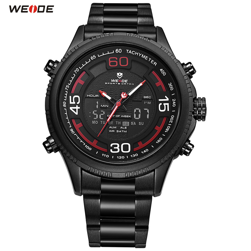 Top Brand WEIDE LED Men Black Red Watch Sport Watch Digital Quartz Watch Men Stopwatch Waterproof Running Wristwatches Relogios speatak sp9041g fashionable men s quartz watch w six stitch stopwatch black golden 1x lr626