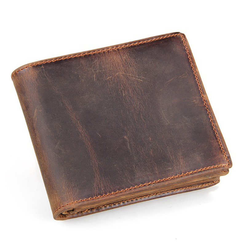 100% Crazy Horse Small Wallet Men High Quality Cow Genuine Leather Men Wallets Luxury Zipper Dollar Price Short Male Coin Purse