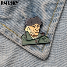 DMLSKY 20pcs/lot Van Gogh Smoking Pin Cosplay Metal Brooch fashion art backpack badges Men Lapel Pins Collar Badge Jewelry M3196