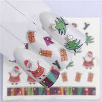 LCJ Deer Santa Clause Christmas Water Transfer Nail Art Sticker Decal Slider Manicure Wrap Tool Tip Xmas Decoration