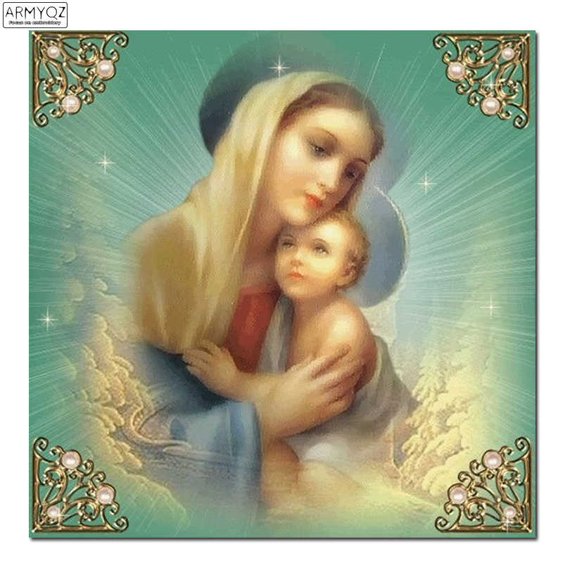 5d diy Diamond embroidery God Mother Son diamond painting Cross Stitch full round Rhinestone mosaic decoration photo RT0291