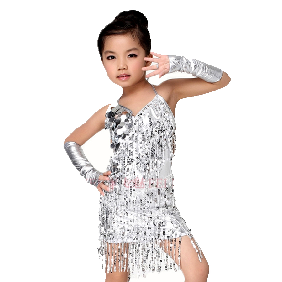 Latin Dance Dress For Girls Gold Silver Kaka Dance Dress 3 Pcs (Dress+2  Sleeve) Sequins Tassel Cha Cha Competition Dresses-in Latin from Novelty    Special ... daf29fb543ed