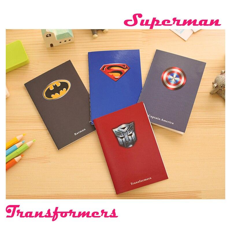 Free Shipping Creative Superman Batman Notepads Business Man Diary Office Escolar Notebook Gift KidsNotebooks Memos Agenda