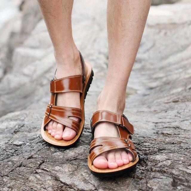 Hook Gladiator Casual Loop 48 Men Cowhide Sandals In Shoes 982017 Size 38 Slippers Summer Large Men's Leather Us24 Genuine Male Outdoor J35KlFuT1c