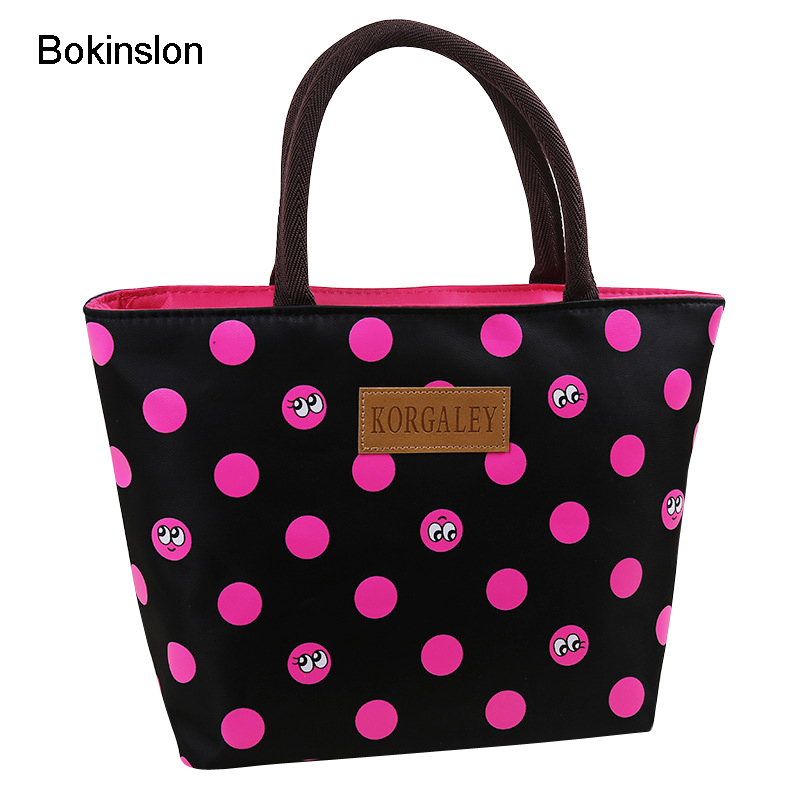 Bokinslon Women Handbags Bags Dot Pattern Cute Woman Canvas Bags Casual Simple Zipper Female Shoulder Bags new woman shoulder bags cute canvas women big bags literature and art cartoon girls small fresh bags casual tote