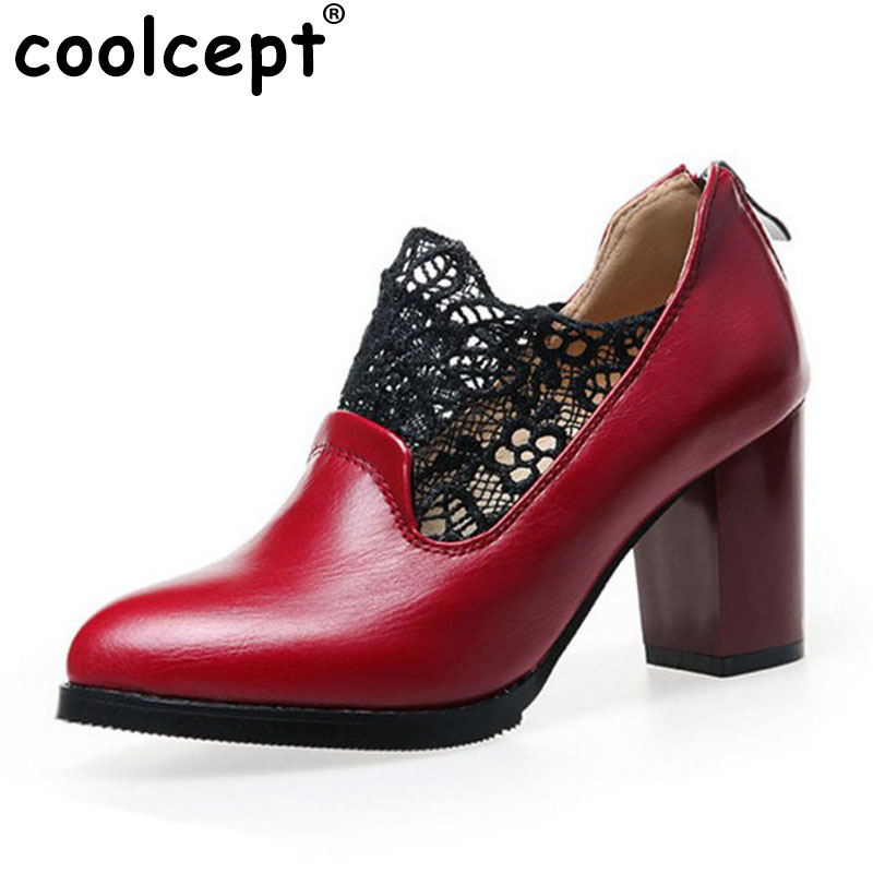 Coolcept Size 33-43 Sexy Women Lace High Heel Shoes Women Zipper Pointed Toe Thick Heels Pumps Office Party Shoes Women Footwear meotina high heels shoes women pumps party shoes fashion thick high heels pointed toe flock ladies shoes gray plus size 10 40 43